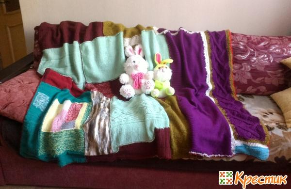 Одеяло пэчворк из старых свитеров