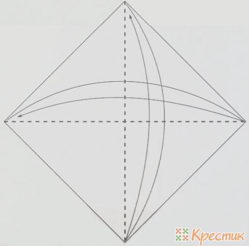 Согните лист по диагоналям