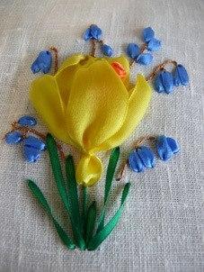 Цветы вышивка лентами