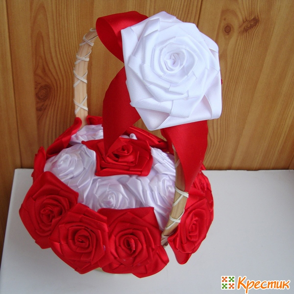 Корзина роз из атласных лент