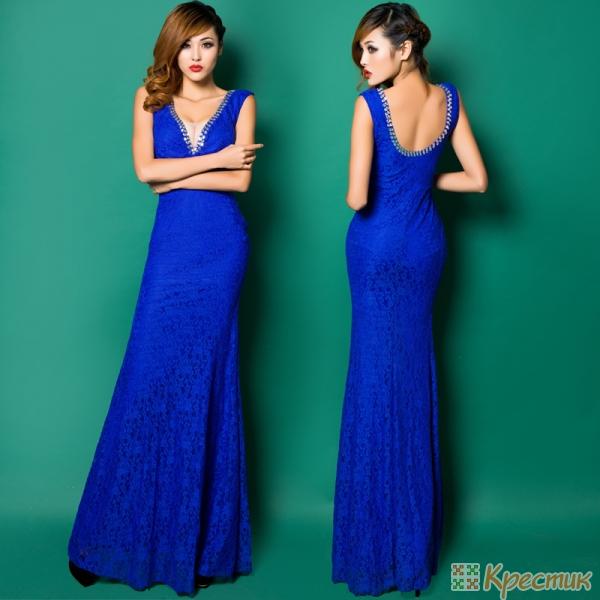 Длинное синее вечернее платье