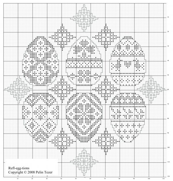 Пасхальная салфетка схема вышивки