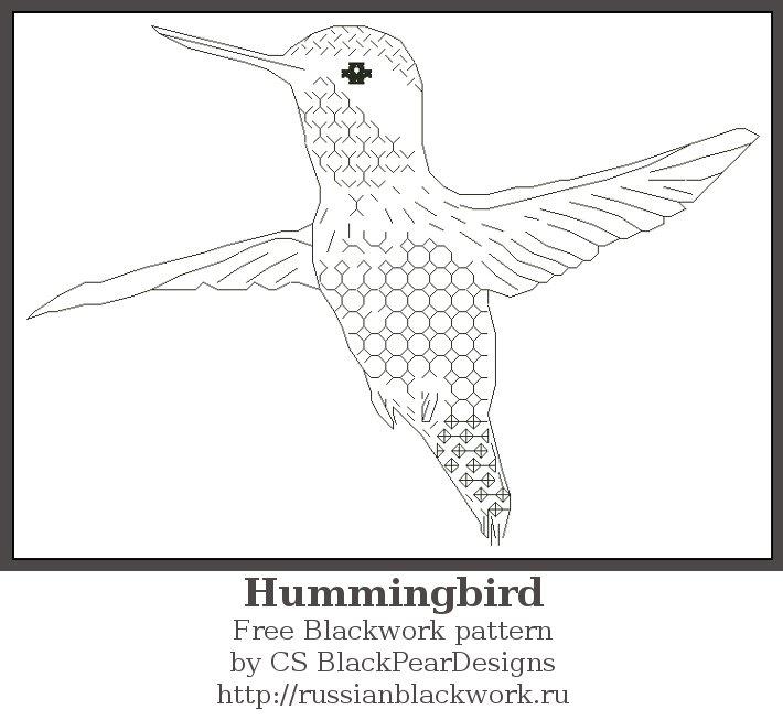 Колибри в вышивке Blackwork