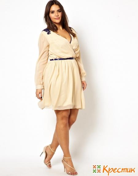 Платье для полных с драпировкой