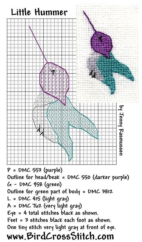 Схема вышивки колибри