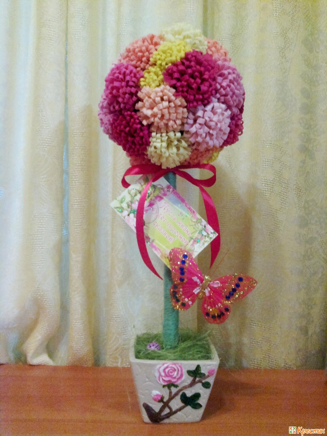 Мастер класс цветы из лент топиарий