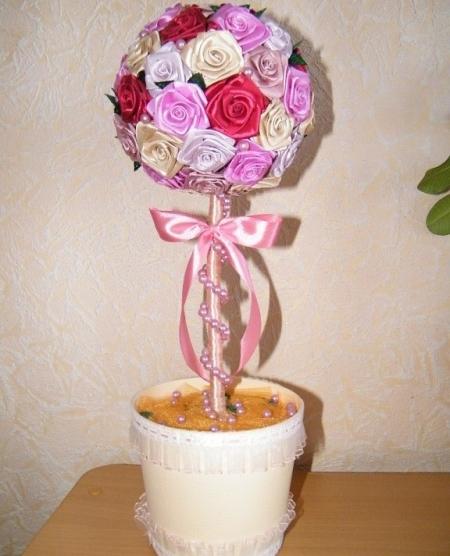 Топиарий из плоских роз