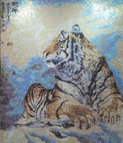 Тигр стразами