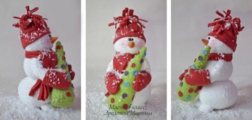 Снеговик из махровой ткани