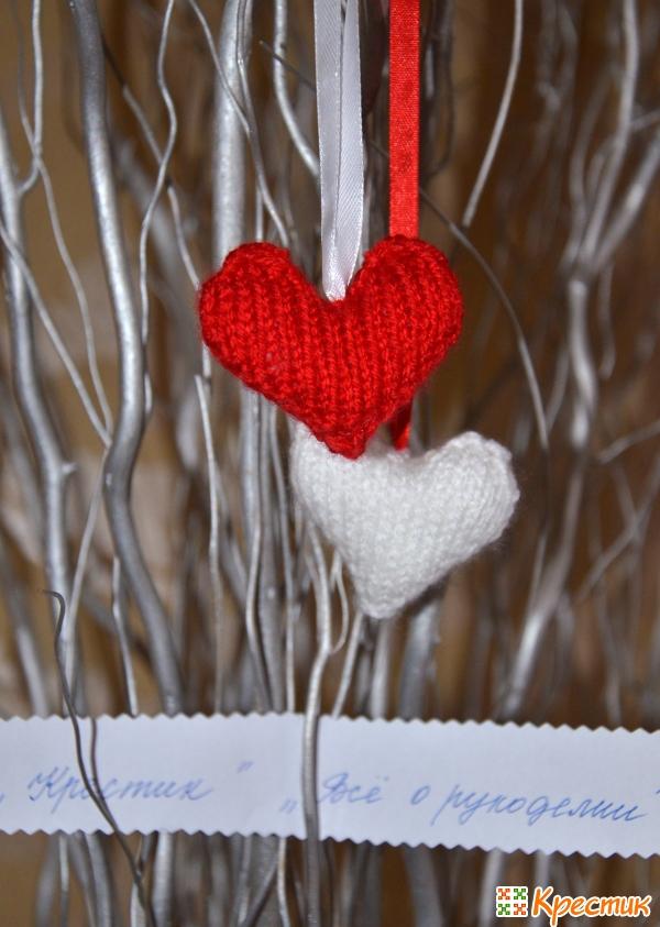 Вязаные сердечки