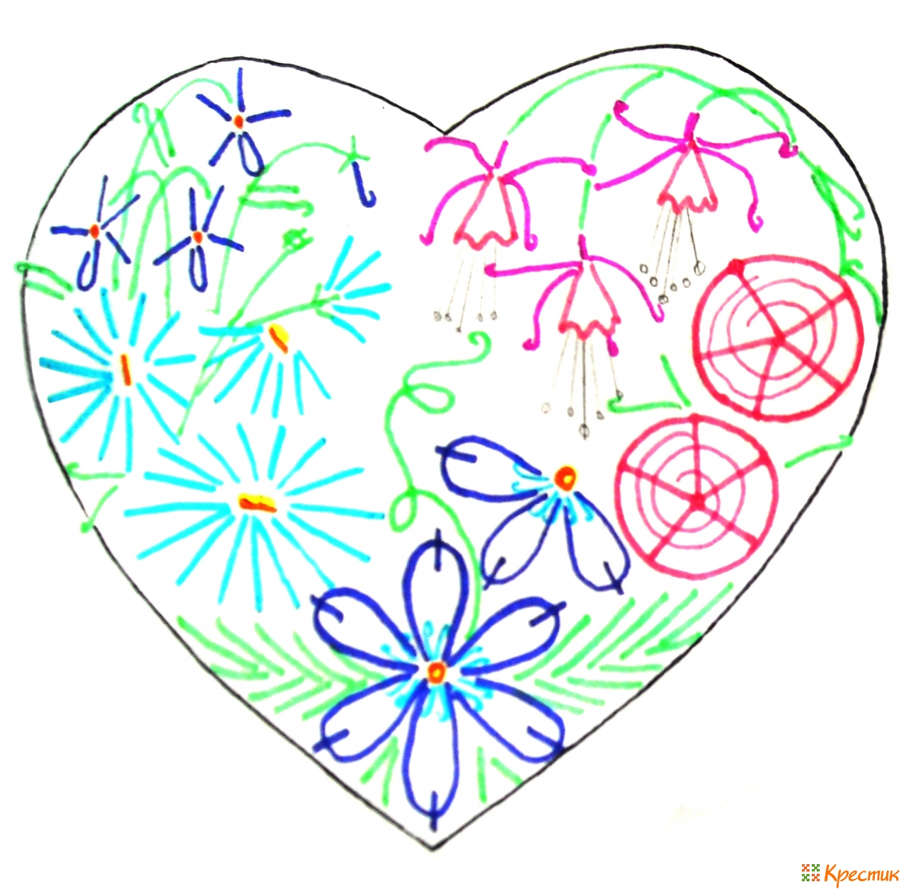 Вышивка лентами сердечко из цветов 65