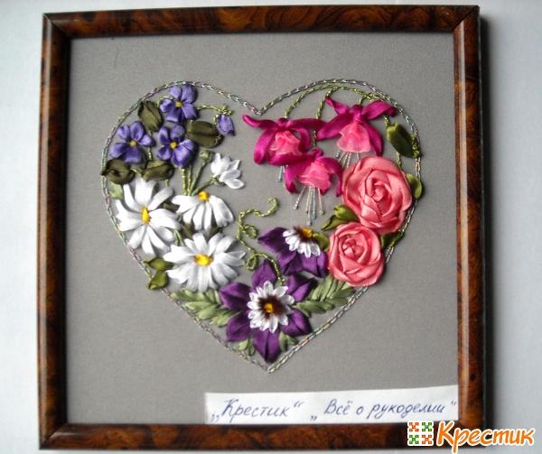 Вышивка лентами цветы