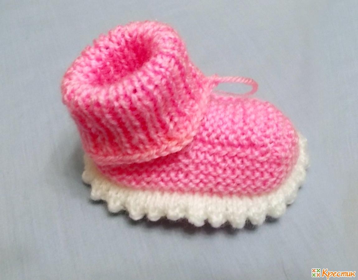вязаные спицами пинетки для новорожденных