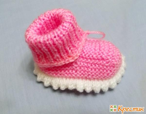 Пинетки вязаные спицами для новорожденных