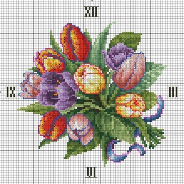 Схема вышивки часов с тюльпанами