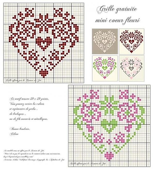 Две схемы вышивки сердечек