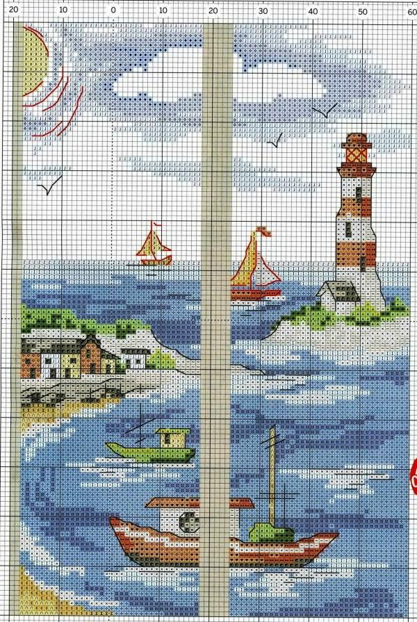 Схема вышивки морского триптиха
