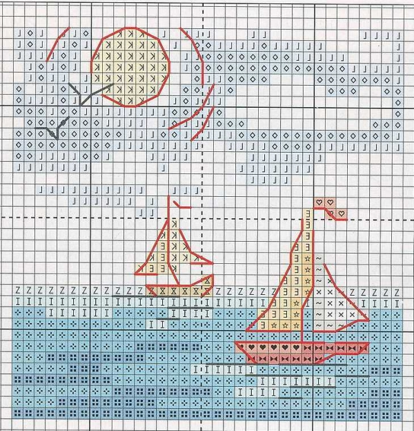 Схема вышивки морской миниатюрки