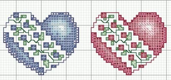 Схема вышивки синего и красного сердечек