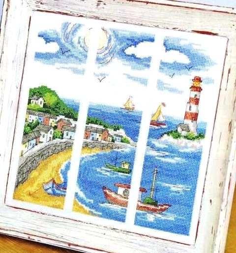 Вдохновение от природы - вышитый триптих о море