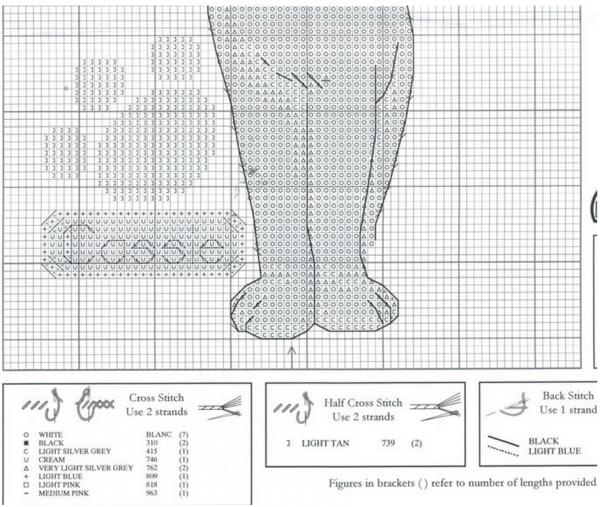 Схема и ключ вышивки крестом белой кошечки