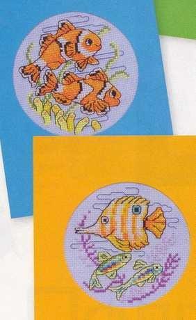 Открытки с вышитыми рыбками