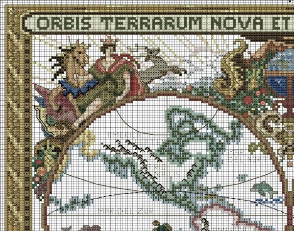 Схема для вышивки старой карты мира