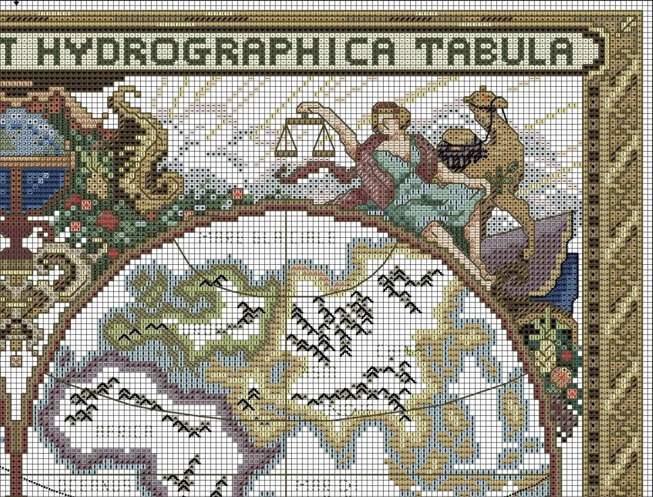 Старинная карта мира вышивка