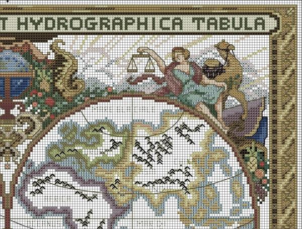 Схема вышивки крестом старой карты мира