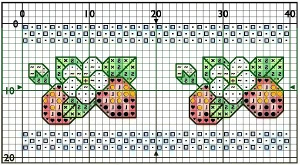 Схема вышивки клубнички для полотенца и закладки