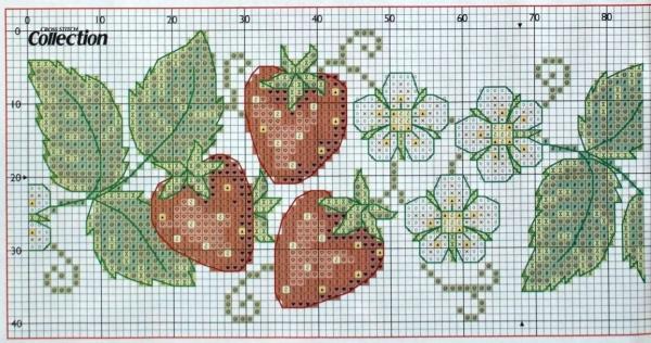 Схема вышивки земляники