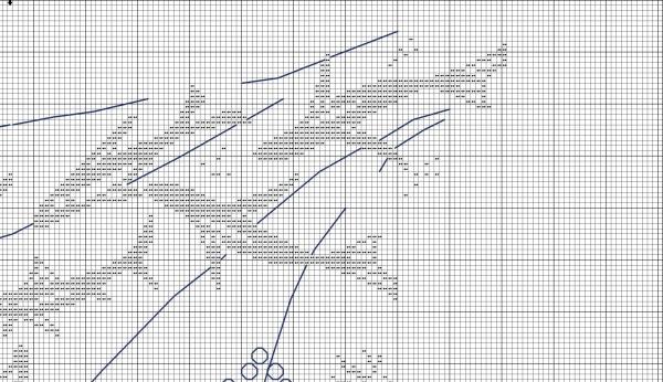 Схема для монохромной вышивки рыбок