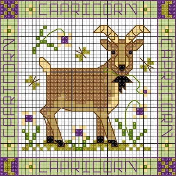 Схема вышивки крестом Козерог