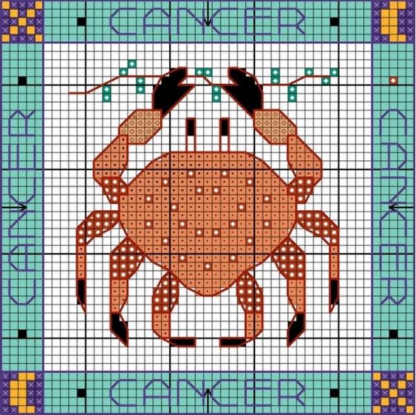 Схема вышивки Рак