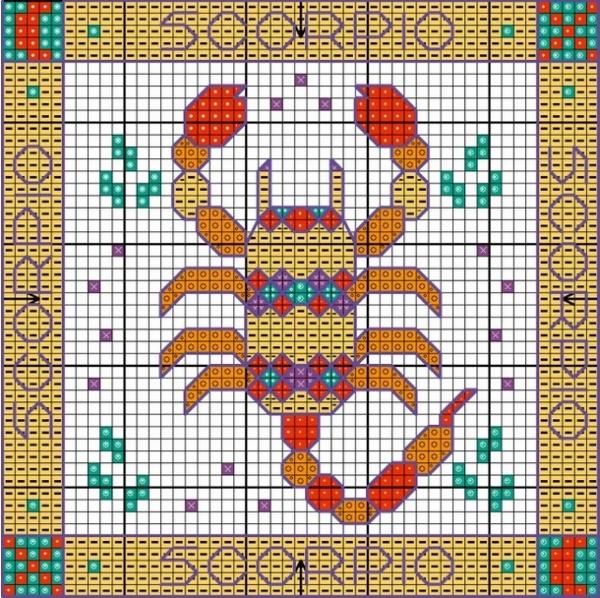 Схема вышивки Скорпион