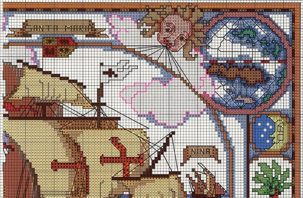 Схема вышивки путешествия Колумба