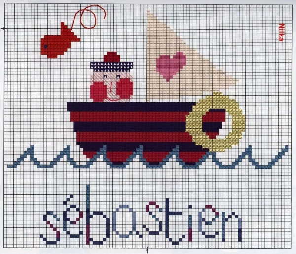 Схема вышивки крестом кораблика