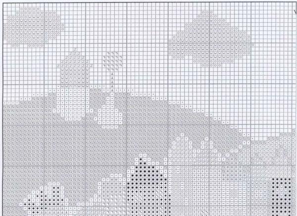 Схема вышивки крестом позитивных корабликов