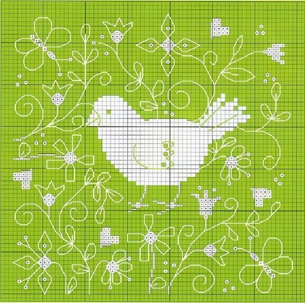 Схема вышивки весенней птички