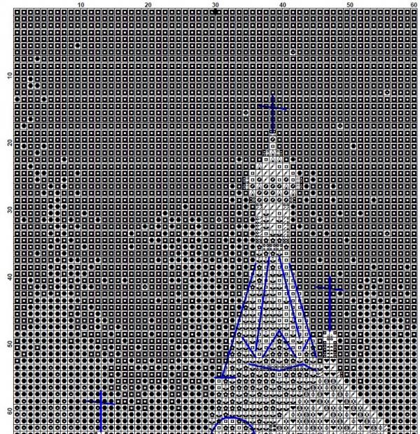 Схема вышивки крестом храма