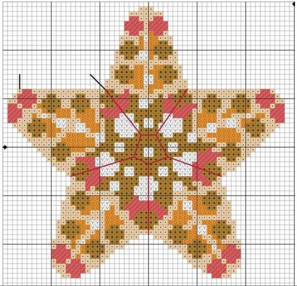 Схема вышивки крестом игольницы в виде звезды моря