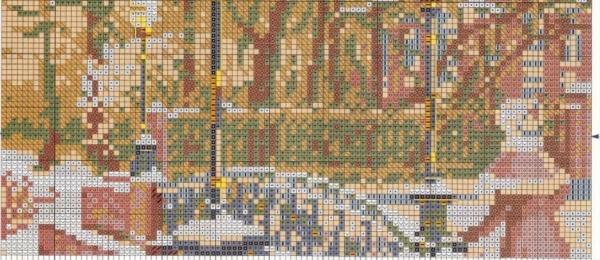 Схема для вышивки крестом моста в Петербурге
