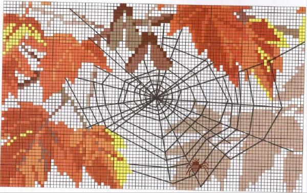 Схема для вышивки крестом ветки клена