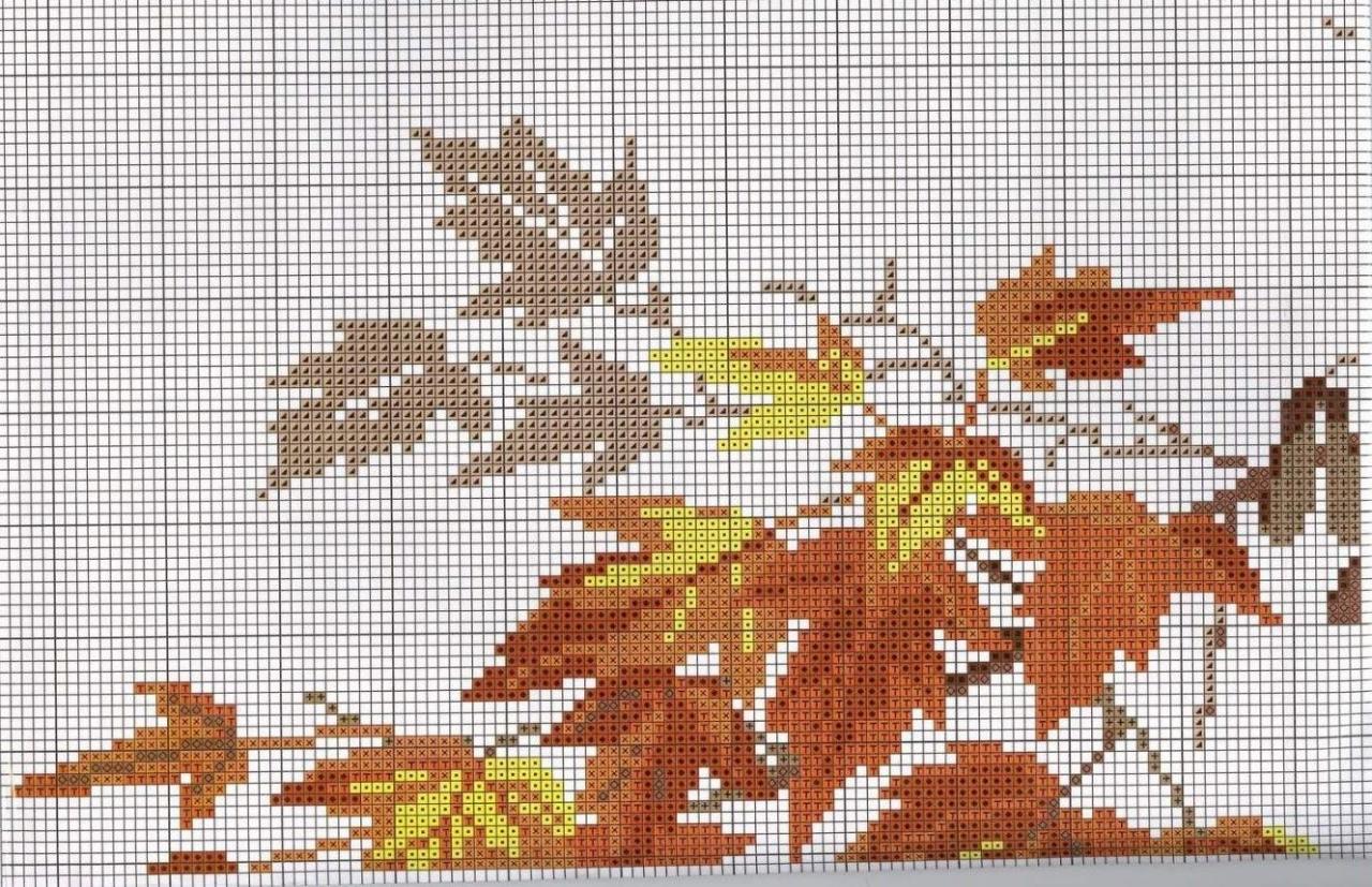 Схемы вышивок крестом осенних листьев