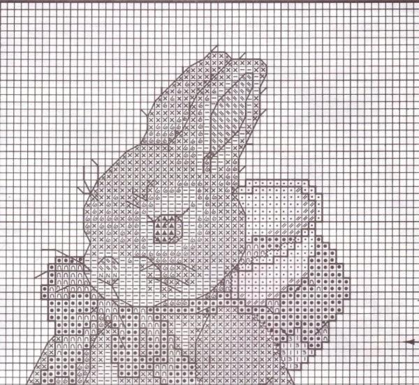 Схема для вышивки крестом зайчат с чаем