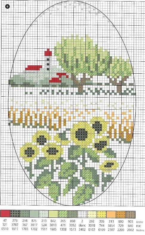 Схема вышивки крестом пейзажа с подсолнухами