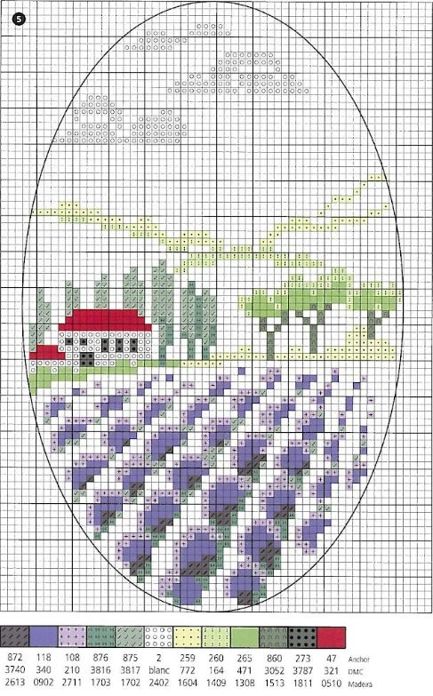 Схема вышивки пейзажа с лавандой