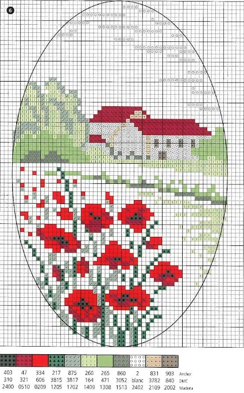 Схема вышивки пейзажа с маками и домиками