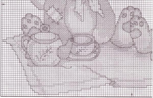 Схема вышивки зайчат с чаем