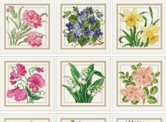 Схема вышивки крестом цветочный календарь